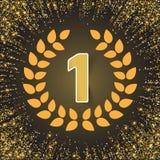El ganador, numera uno con la sombra, cinta roja, rama de olivo en fondo abstracto de la salpicadura del brillo del oro Cartel o ilustración del vector