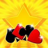El ganar del bote de la estrella del póker Fotografía de archivo libre de regalías