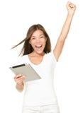 El ganar en el ordenador de la pista de tacto de la tablilla Fotos de archivo libres de regalías