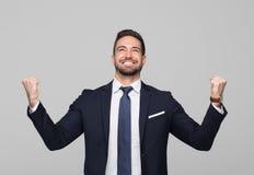 El ganar profesional caucásico acertado del hombre de negocios imagen de archivo libre de regalías