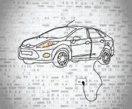El garabato del coche eléctrico tapó en la pared Imagen de archivo