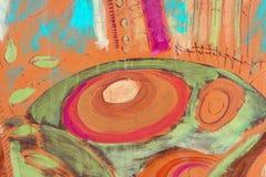 El garabato del niño en los lápices coloreados pared garabatea en una pared blanca hecha por un niño que podría pasar como trabaj Imagenes de archivo