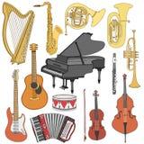 El garabato dibujado mano, bosqueja los instrumentos musicales Iconos del vector fijados Fotos de archivo libres de regalías