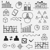 El garabato dibujado mano del negocio bosqueja elementos Imagen de archivo libre de regalías