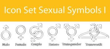 El garabato exhausto alineó símbolos sexuales determinados del icono I libre illustration