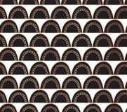 El garabato forma arcos fondo geométrico inconsútil del extracto del vector de la hoja de oro de Rose Arcos de cobre en blanco y  stock de ilustración