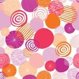 El garabato geométrico forma rosa, la naranja, coralino, y melocotón en un fondo blanco Los círculos vector el modelo inconsútil  stock de ilustración