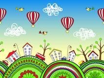 El garabato lindo embroma el fondo con las colinas y la ciudad adornadas de la historieta inconsútil libre illustration