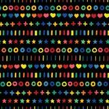El garabato protagoniza cruces y rayas de los círculos de los corazones en colores del arco iris en fila Formas geométricas exhau stock de ilustración