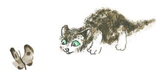 El gatito está cazando Fotografía de archivo libre de regalías