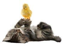 El gatito y el pollo de la pintura de la acuarela Fotografía de archivo libre de regalías