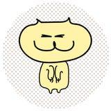 El gato amarillo divertido va en dos piernas Pegue hacia fuera las garras ilustración del vector
