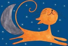 El gato anaranjado feliz en el cielo en la noche ilustración del vector