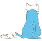 El gato azul roba pescados detrás Imágenes de archivo libres de regalías