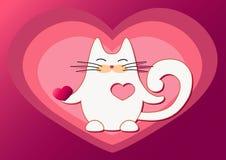 El gato blanco sale del corazón Fotos de archivo libres de regalías
