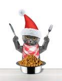 El gato de Papá Noel quiere comer y sostener el cuchillo y la bifurcación fotografía de archivo