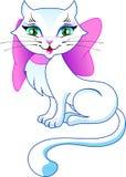 El gato dulce del gatito con un arco ilustración del vector