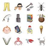 El gato, el animal, el edificio y el otro icono del web en estilo de la historieta virus, monstruo, iconos de la tortuga en la co libre illustration