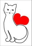 El gato está esperando su amor Foto de archivo libre de regalías