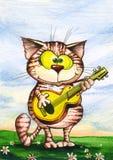 El gato feliz toca la guitarra Imagen de archivo