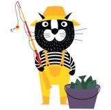 El gato fresco de la historieta le gusta el pescador con el cubo de pescados y de fishin stock de ilustración