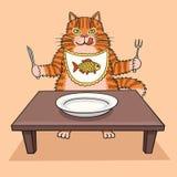 El gato hambriento quiere comer stock de ilustración