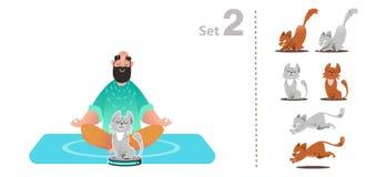 El gato juega con un aspirador, monta un aspirador elegante, stock de ilustración