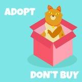 El gato lindo Adopt no compra texto Animales sin hogar concepto, tema de la adopción de los animales domésticos Libre Illustration