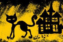 El gato negro de Halloween del símbolo se adorna con la cúrcuma Imagen de archivo