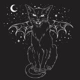 El gato negro espeluznante con el monstruo se va volando sobre el cielo nocturno stock de ilustración