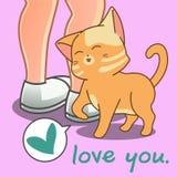 El gato precioso le está amando stock de ilustración
