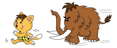 El gato prehistórico corre de gigantesco o ejemplo stock de ilustración