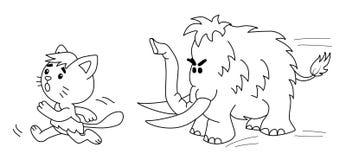 El gato prehistórico corre de gigantesco 2.o ejemplo ilustración del vector