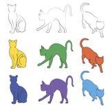 El gato siluetea la colección, trayectoria del unstroke Fotografía de archivo libre de regalías