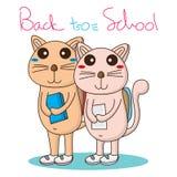 El gato va escuela Imagen de archivo