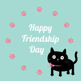 El gato y la pata felices del día de la amistad imprimen alrededor de plantilla del marco Diseño plano Imagen de archivo