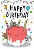 El gato y el perro lindos del garabato del vector con la torta para la tarjeta del feliz cumpleaños, tienen espacio para el texto stock de ilustración