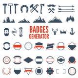 El generador retro del emblema se fija de iconos, de insignias, de cintas y de otros elementos útiles del diseño para el emblema  stock de ilustración
