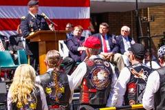 El general del ejército habla a los veteranos Foto de archivo libre de regalías