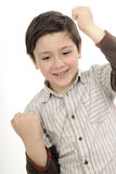El gesticular acertado del muchacho foto de archivo