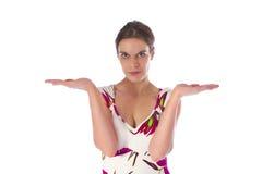 El gesticular de la mujer joven Fotos de archivo