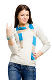 El gesticular de la roca de la mano del adolescente Foto de archivo