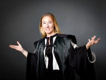 El gesticular del abogado de la mujer Fotografía de archivo