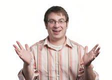 El gesticular del hombre joven Imagen de archivo libre de regalías