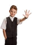 El gesticular feliz del alumno Fotografía de archivo libre de regalías