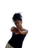 El gesticular negro de la mujer joven Imagen de archivo