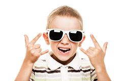 El gesticular sonriente del niño Fotos de archivo libres de regalías