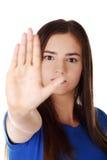 El gesto de la parada canta con la mano Fotografía de archivo libre de regalías