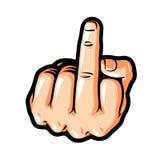El gesto de mano, le coge, símbolo Muestra del dedo medio Ejemplo del vector de la historieta, etiqueta engomada