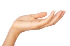 El gesto de womans abre la mano imagenes de archivo